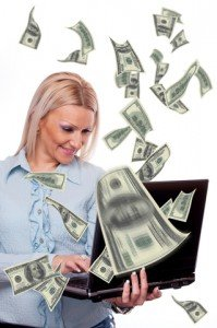 Woman with Money Computer