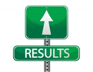 Arrow pointing to results