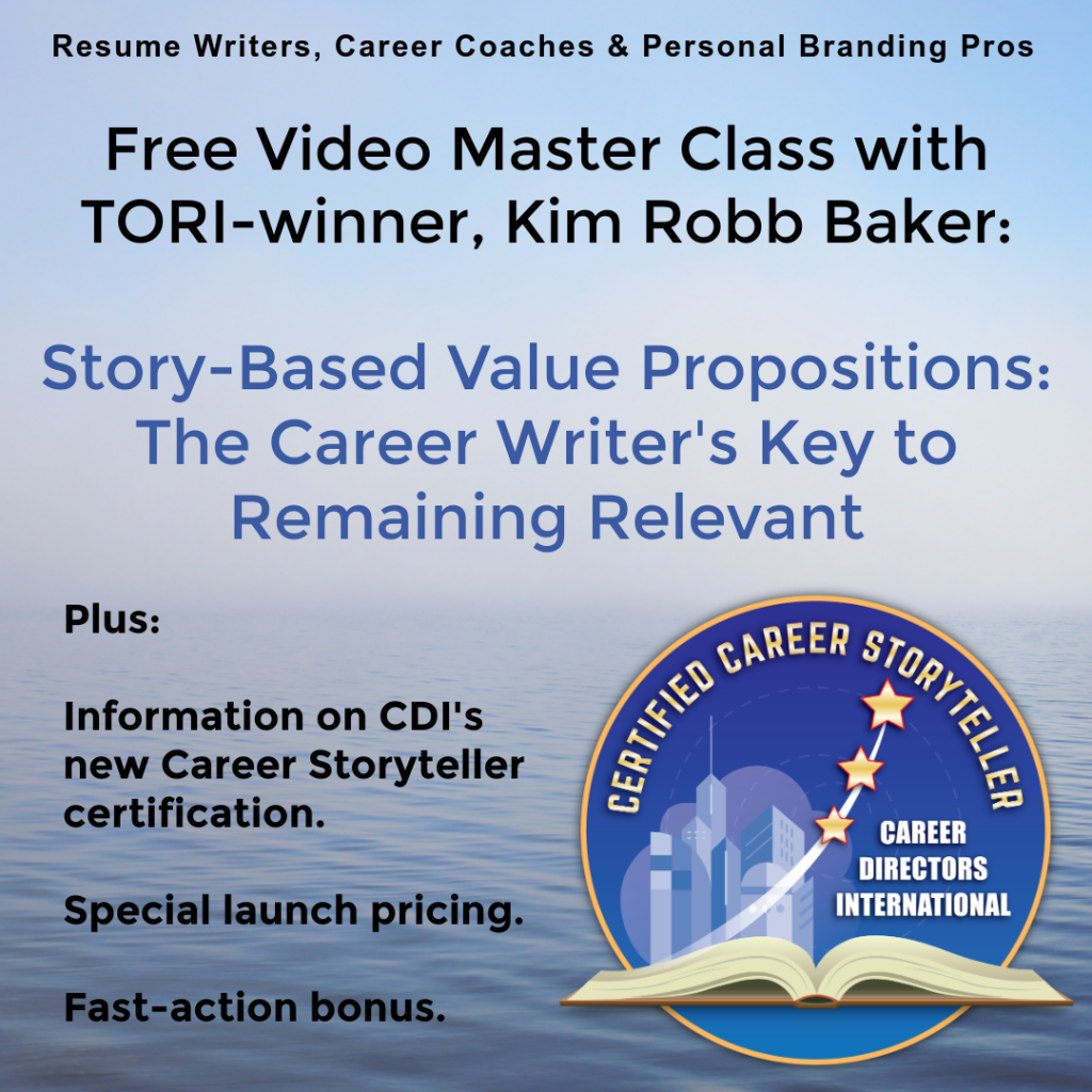 Free webinar on story-telling and branding for resume writers and career coaches