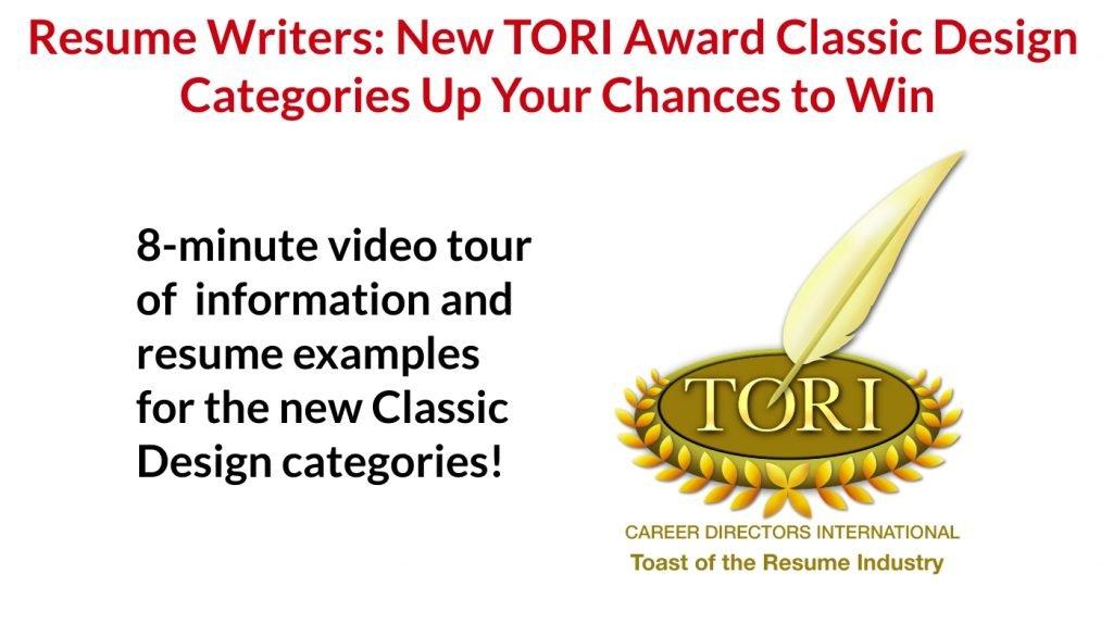 TORI Classic Design Resume Categories - Video