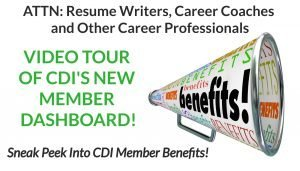 CDI member dashboard tour of benefits for resume writers, career coaches and career industry entrepreneurs